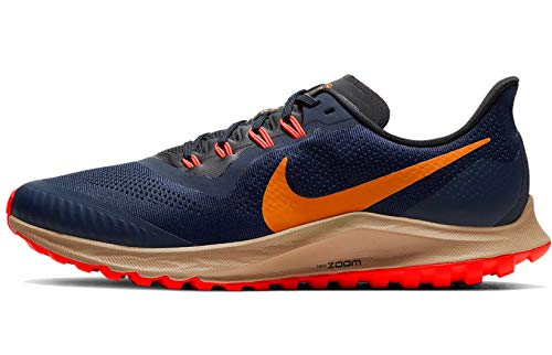 Nike Men's AIR Zoom Pegasus 36 Trail Running Shoe, Obsidian/Magma Orange/Black/Laser Crimson/Khaki, 6 UK