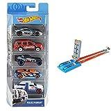 Hot Wheels Pack de 5 vehículos, Coches de Juguete + Campeón de Velocidad, Pistas Coches de Juguetes niños +4 años, Multicolor GBF82