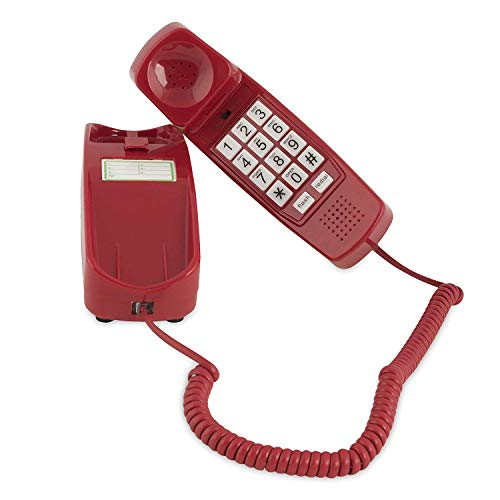 Corded Phone - Phones for Seniors - Phone for Hearing impaired - Crimson Red - Retro Novelty Telephone - an Improved Version of The Princess Phones in 1965 - Style Big Button - iSoHo Phones