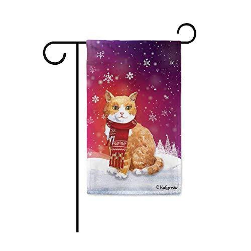 FJXXM Feestelijke Tuinvlag, Welkom Winter Sneeuw Leuke Kitten Decoratieve Tuin Vlag Kat Kitty in Geweven Sjaal Sneeuwvlok Kerst Decor Banner voor Buiten 30 X 45 CM Dubbele Zijde
