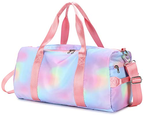 Womens Travel Bags Girls Sport Gym Duffle Weekender Carry On Workout Duffel Overnight Shoulder Bag with Shoe Compartment (Rainbow Pink-D)