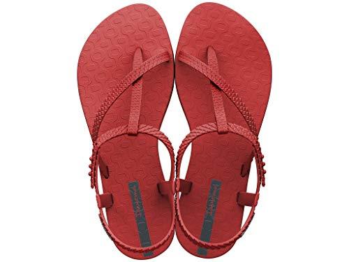 Ipanema Sandalen Damen Zehen-Sandale Gummi-Sandalen Zehentrenner Knöchelriemchen Spangen Strap Steg Flipflops-Sandale Druckknopf-Verschluss Wish 26452 (Rot (21720 RED), 40)