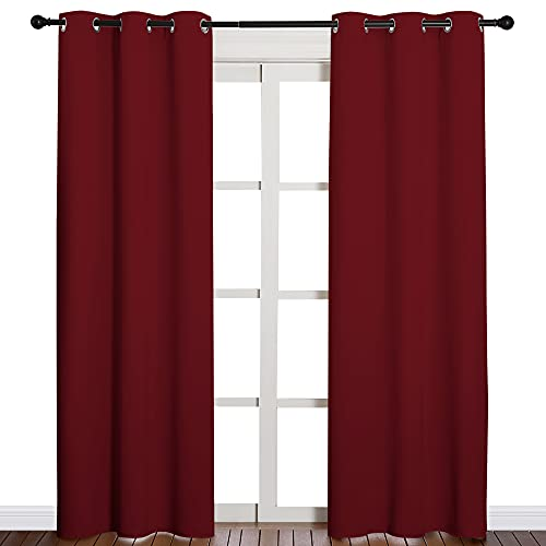 NICETOWN Home Decorations Thermal Insulated Solid Grommet Top Blackout Living Room Curtains/Drapes for Christmas & Thanksgiving Gift (1 Pair, 42 x 84 inches, Burgundy Red)