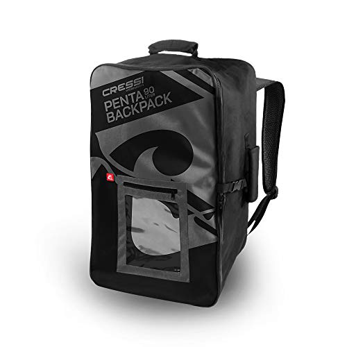 Cressi Unisex's Penta Backapck Made to Last with Maximum Strength Polyester/PVC Composite Fabric, Black, 90 L