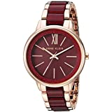 Anne Klein Women's AK/1412RGBY Rose Gold-Tone and Burgundy Shimmer Resin Bracelet Watch