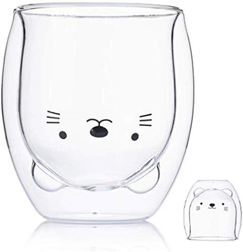 LTHTX Kreative süße Bär Doppellagige Kaffeetasse Doppelglastasse Karton Tier Milchglas Lady (Katze)