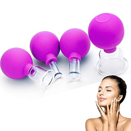 Glass Facial Cupping Set- 4pcs Silicone Vacuum Suction Face Massage Cups Anti Cellulite Lymphatic Therapy Sets for Eyes, Face and Body (Rose red)
