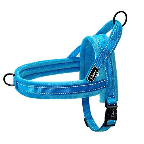 Didog Hundegeschirr, weiches Flanell, gepolstert, ausbruchsicher/schnell anzubringen, reflektierendes Hundegeschirr, einfach zum Trainieren und Spazierengehen, Blau, Größe XXS