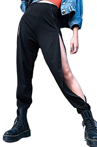 Pantalon Hip Hop Casual Baggy Lâche Sport Harem Irrégulière Pantalons Fendus Fermeture À Glissière Cargo De La Femme,Noir,S