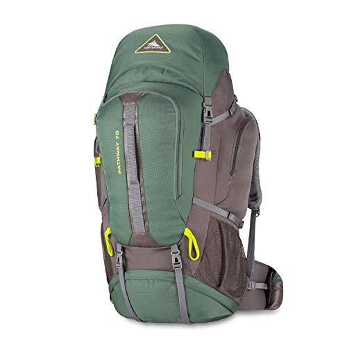 High Sierra Pathway Internal Frame Hiking Pack, Pine/Slate/Chartreuse, 70L