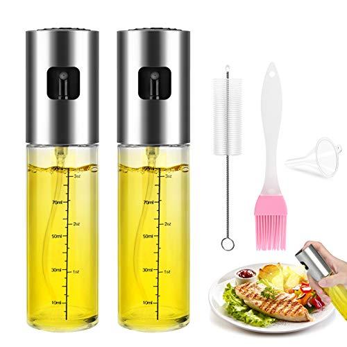 Maxjaa Ölsprüher Flasche 100ML Öl Sprühflasche, Essig Spritzer Ölspender, Transparent Öl Sprayer, Öl Auslöser Glasflasche mit Bürstefür Kochen, Salat, BBQ, Pasta 2PCS