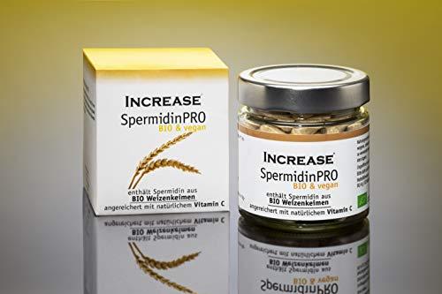 Increase SpermidinPRO - Spermidin aus BIO Weizenkeimen - 120 vegane Kapseln - BIO zertifiziert und komplett Vegan - Ohne chemische Zusatzstoffe - 1,2 mg Spermidin pro Portion