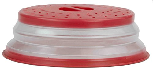 Home Basics MW44966 Collapsible Strainer and Microwave Plate with Cover, Red
