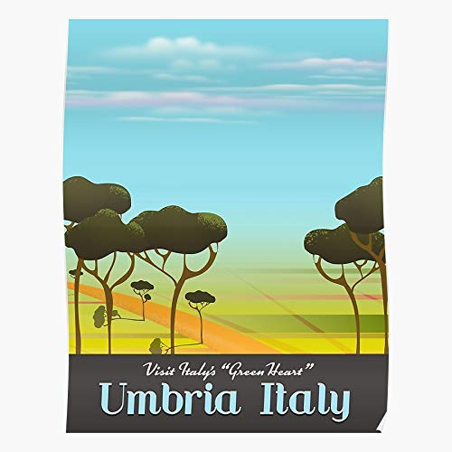 Umbria Rural Italy Landscape Italian Green Boot Heart Cartoon Travel The Best and Style Home Decor Wall Art Print Poster with only Size 16x24 inch