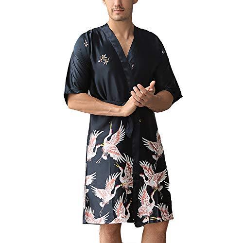 Lu's Chic Men's Luxury Short Sleeve Kimono Robes Silk Crane Satin Loungewear Soft Nightwear Black US L (Tag3XL)