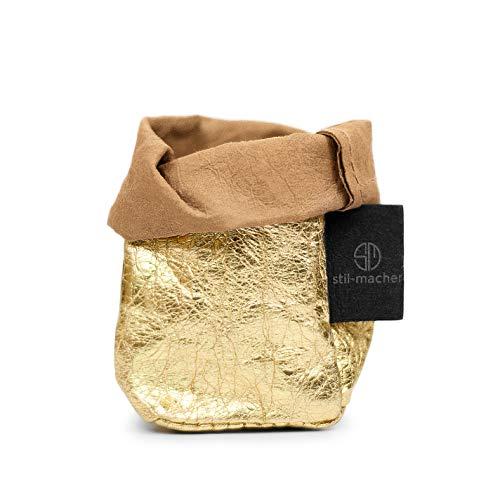 Designer KREMPELKORB Gold XS | Aufbewahrungskorb aus waschbarem Papier | Lederoptik | VEGAN | Deko-Box | Geschenkbox | in DREI Farben | Gr. 5cm x 5cm x12cm| (Gold)