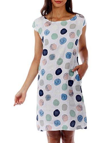 CHARIS MODA Leinen Kleid Viertelarm Punkte Druck Design Gr. 36-44 (XL = 40, Weiss)