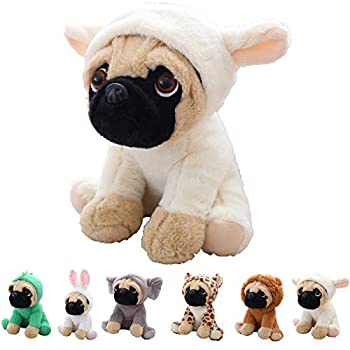 Cute Pug Stuffed Animal Cosplay as White Sheep Plush Toys Soft Pug Dog Toy in Sheep Costume Great Plushies Toys Stuffed Animals for Kids ,10 Inch