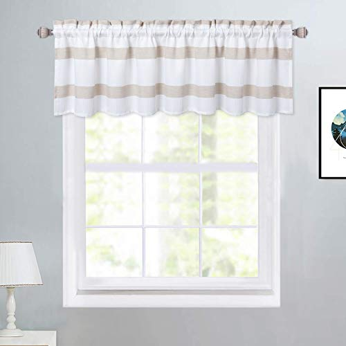 """Haperlare Window Valance Curtains for Kitchen, Waffle Weave Textured Cafe Curtains Yarn Dyed Stripe Pattern Farmhouse Bathroom Window Curtains, 60"""" W x 15"""" L, Taupe, One Panel"""