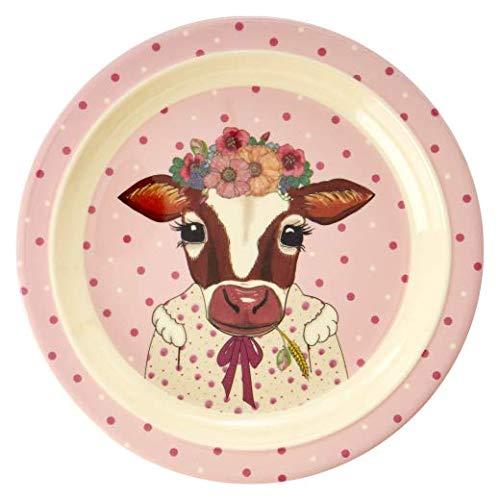 Rice Kinderteller flach, Durchmesser 20cm, mit süßem Tierprint Kuh aus der Serie Animal Farm rosa