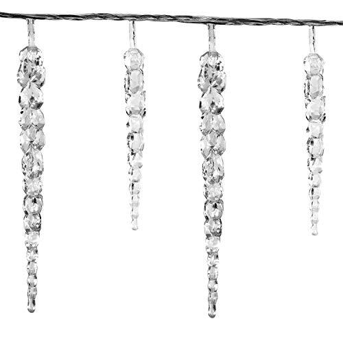 VOLTRONIC® 40 LED Lichterkette Eiszapfen für innen und außen, Farbwahl: kalt-weiß/blau, GS geprüft, IP44, optional mit 8 Leuchtmodi/Fernbedienung/Timer, Länge 5,5m + 5m Zuleitung Weihnachtsdeko