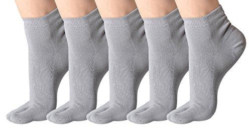 urban GoCo (Pack de 5 pares) Calcetines de Algodón Transpirable de Flip Flop Tabi Toe Calcetines Antideslizantes para Adulto (39-42, H)