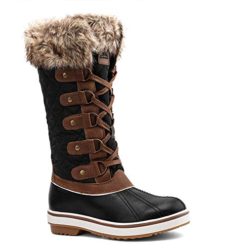 ALEADER Winter Boots for Women, Fashion Waterproof Snow Boots Fur Shoes Black/Brown 7.5 D(M) US