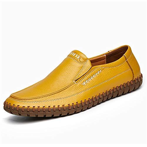 XYZDZ Negocios Zapatos Planos de Cuero Redondo del Dedo del pie de conducción Ocasionales de los Holgazanes de los Hombres de Costura de Color sólido bajo-Top Suela de Goma Antideslizante para