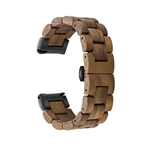 木製腕時計バンド 20mm Samsung Galaxy Watch Active/Active 2用 40/42/44mm 木製ステンレススチール腕時計バンド クイックリリースストラップ 交換用ブレスレット リストバンド, 20mm, ステンレス,