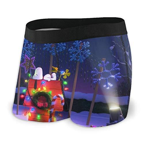 Meng Beasts Snoopy Herren Boxershorts mit Dach, Stretch, für Herren, Kurze Beine, atmungsaktiv, bequem, Faserpackung Gr. XXL, Schwarz