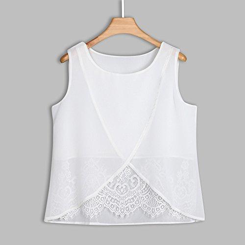 Ropa Camiseta sin Mangas Tank Tops para Mujeres, Verano Sexy Deporte Casual Lace Chaleco Blusa Tops Blusas Crop Tops Vest T Shirt Fiesta en la Playa para Mujeres Chica Joven (M)