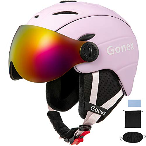 Gonex Ski Helmet with Goggles - ASTM Certified Safety - Winter Windproof Skiing Snowboard Snow Helmet for Men, Women, Youth - Accessories Included (Matte Black, L)