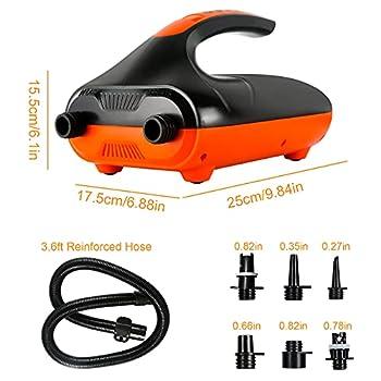 AOLVO Pompe à air électrique pour Bateau Gonflable, avec arrêt Automatique PSI préréglé, Max 20 PSI et 6 adaptateurs de Pompe à air supplémentaires pour gonfler des Planches Sup (2e gén)
