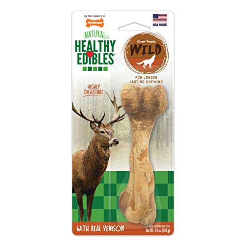 Nylabone Healthy Edibles WILD Natural Long Lasting Venison Flavor Dog Chew Treats 1 Count Large - Up to 50 lbs.