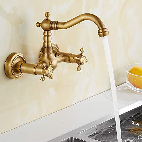 Grifo de pared para fregadero de cocina, latón antiguo, estilo retro, para montaje en pared, para baño, fregadero, grifo mezclador clásico con giratorio, modelo largo