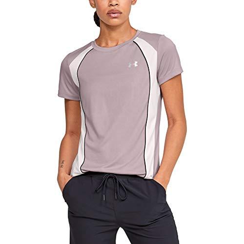 Under Armour Women's Tech C&s Jacquard Crew Neck Short Sleeve T-Shirt, Dash Pink (667)/Metallic Silver, Large