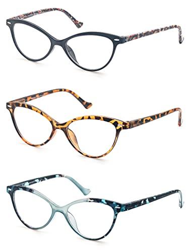 MODFANS 3er Set Lesebrille Damen,Gute Brillen,Hochwertig,Komfortabel Super Lesehilfe,Lesebrille Cateye Damen