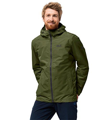 Jack Wolfskin Chilly Morning Men Veste de randonnée d'hiver imperméable et Coupe-Vent Respirant Veste de Protection Contre Les intempéries S Cypress Green