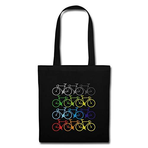 Fahrrad Sport Farbenfrohe Bikes Stoffbeutel, Schwarz