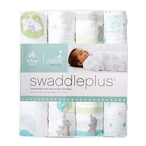 aden + anais Essentials Swaddle Blanket, Muslin Blankets for Girls & Boys, Baby Receiving Swaddles, Unisex Infant Shower Items, Toddler Gift, Wearable Swaddling Set, 4 Pack, Flying Dumbo