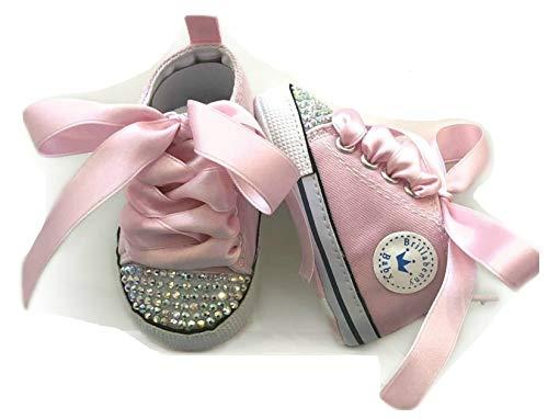 BrillaBenny Scarpine Scarpe Sneakers Strass Bimba Neonato Bambina Rosa Baby Shoes Pink Crystal Luxury (0-3 Mesi Lunghezza Suola 9,5cm)