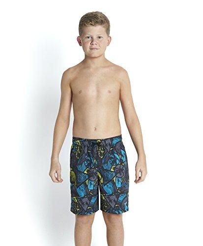 Speedo Boy's Life Leisure Laguna Watershorts stampa bandiera Usa, colore: nero/carbone/acquari, colore: lime, misura media, 15 cm