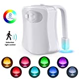 Toilet Night Light, Motion Sensor LED Night Lights,Two Modes with 8 Colors Changing Toilet Bowl Night Light for Bathroom Washroom, Perfect Detection-Fits Any Toilet