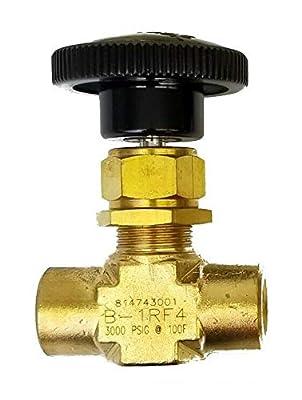 "Swagelok B-1RF4 Brass Integral Bonnet Needle Valve, 0.73 Cv, 1/4"" FNPT, Regulating Stem by Swagelok Company"
