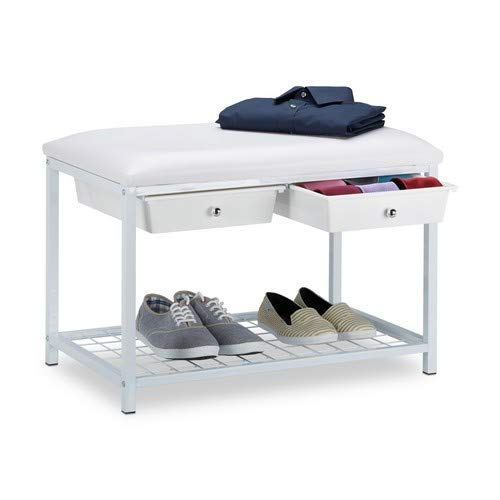 Relaxdays Sitzbank mit 2 Schubladen, Polsterung, Kunstleder, Weiß, 42 x 67 x 43.5 cm