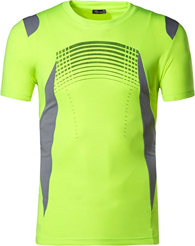 jeansian Hombres Deportes Wicking Quick Dry Respirable Corriente Training tee T-Shirt Sport Tops LSL194 GreenYellow M