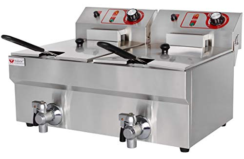 Beeketal \'BTF20B\' Doppel Kaltzonen Fritteuse (2 x 9 Liter Volumen für max. 2 x 6 Liter Öl) Edelstahl Friteuse mit Temperaturkontrolle und Fettablaufhahn