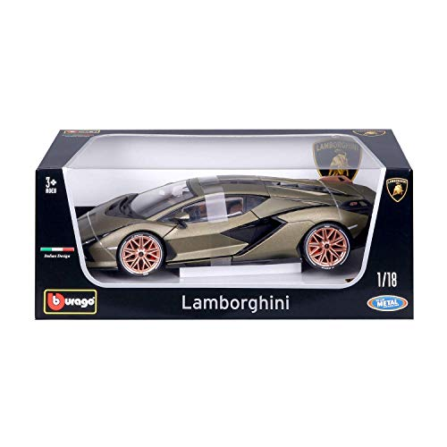 Bburago (18-11046 Lamborghini Sián FKP 37 Modellauto im Maßstab 1:18, Electric Gold