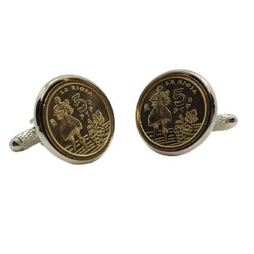 Gemelos para camisa: Genumis Rioja - Moneda 5 pesetas 1996 España - Color Plateado - 18 mm