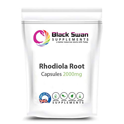 Black Swan Rhodiola Root Supplement—Boosts Energy—Weight Loss—Muscle Health—Healthy Blood Sugar Levels—Vegetarian 2000 mg Capsule (60 caps)